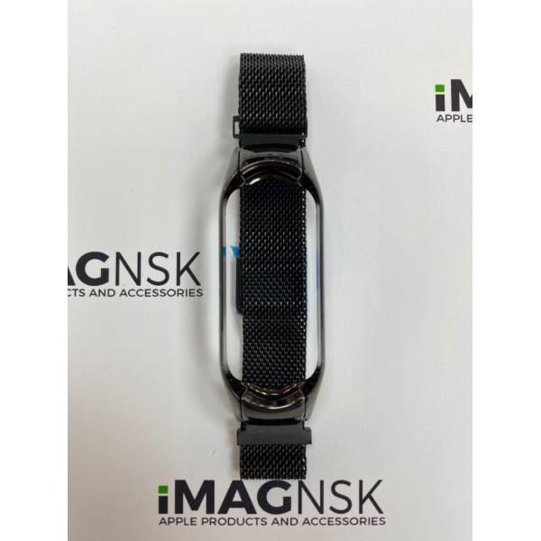 Металлический браслет для Xiaomi Mi Band 5 миланская петля черный