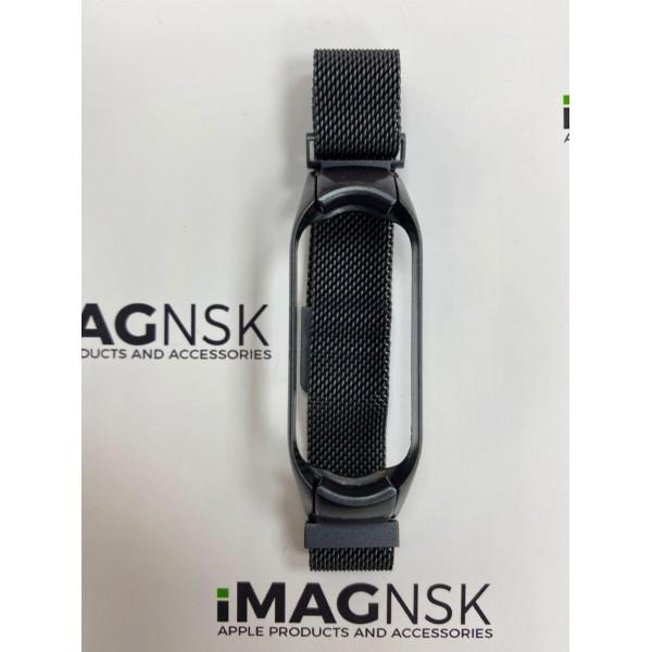 Металлический браслет для Xiaomi Mi Band 5 миланская петля черный матовый