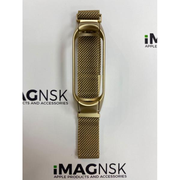 Металлический браслет для Xiaomi Mi Band 4 миланская петля матовое золото