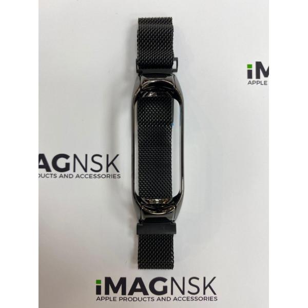Металлический браслет для Xiaomi Mi Band 4 миланская петля черный