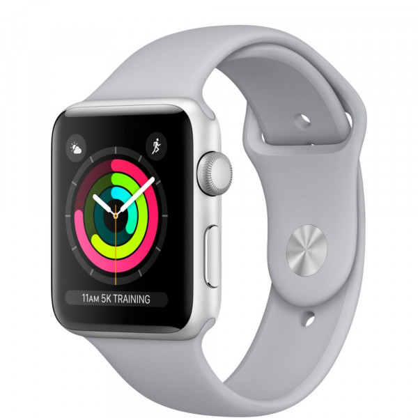 Apple Watch Series 3 38mm Silver алюминиевый корпус дымчатый спортивный ремешок