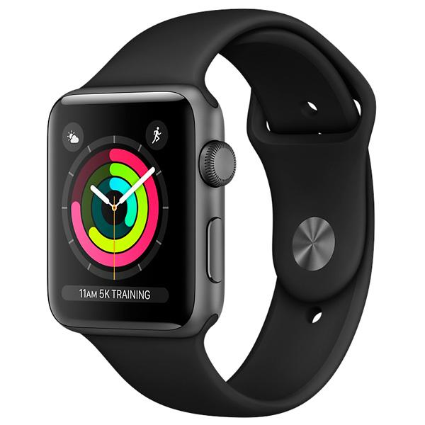 Apple Watch Series 3 38mm Space Gray алюминиевый корпус черный спортивный ремешок