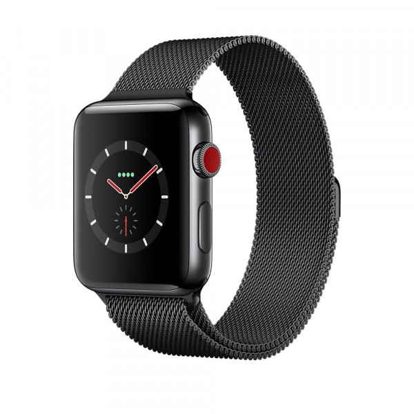 Apple Watch Series 3 42mm Space Black корпус из стали черный браслет миланская петля