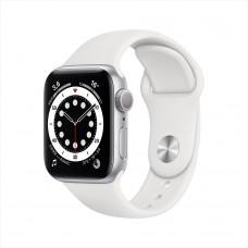 Apple Watch Series 6, 40 мм, алюминий серебристого цвета, спортивный ремешок белого цвета