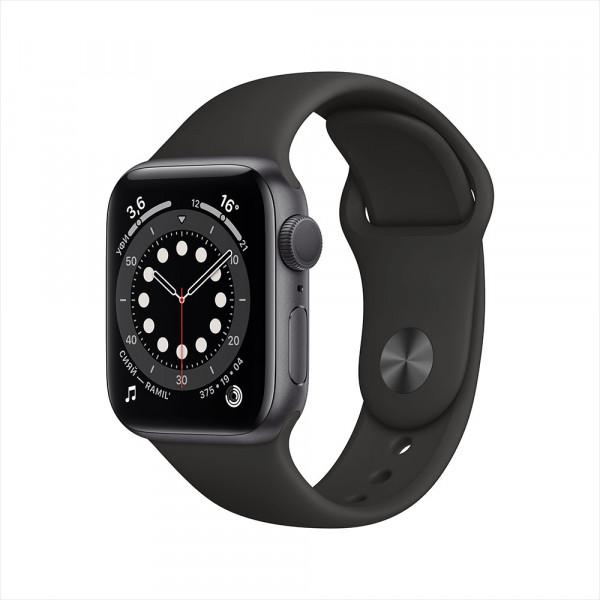Apple Watch Series 6, 40 мм, алюминий цвета «серый космос», спортивный ремешок черного цвета