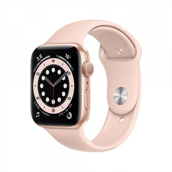 Apple Watch Series 6, 44 мм, алюминий золотистого цвета, спортивный ремешок цвета «розовый песок»