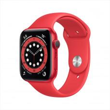 Apple Watch Series 6, 44 мм, алюминий красного цвета, спортивный ремешок красного цвета
