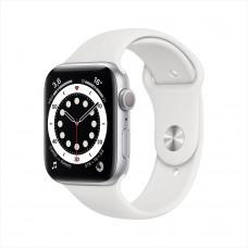 Apple Watch Series 6, 44 мм, алюминий серебристого цвета, спортивный ремешок белого цвета