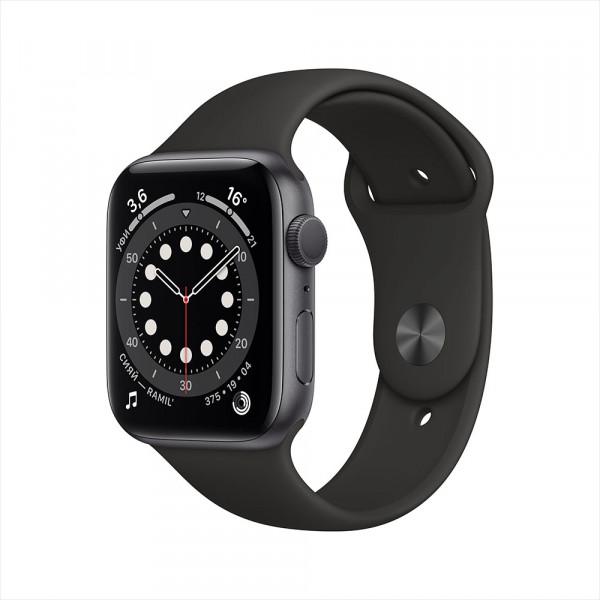 Apple Watch Series 6, 44 мм, алюминий цвета «серый космос», спортивный ремешок черного цвета