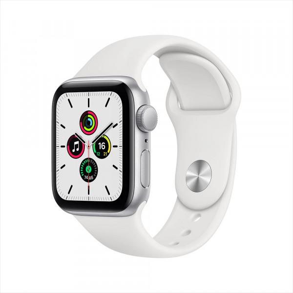 Apple Watch SE, 40 мм, алюминий серебристого цвета, спортивный ремешок белого цвета