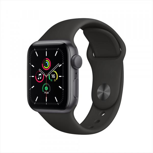 Apple Watch SE, 40 мм, алюминий цвета «серый космос», спортивный ремешок черного цвета