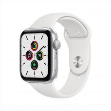 Apple Watch SE, 44 мм, алюминий серебристого цвета, спортивный ремешок белого цвета