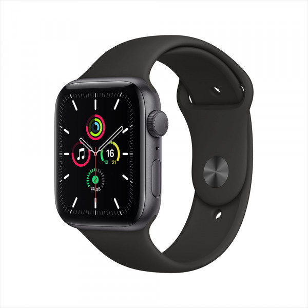 Apple Watch SE, 44 мм, алюминий цвета «серый космос», спортивный ремешок черного цвета