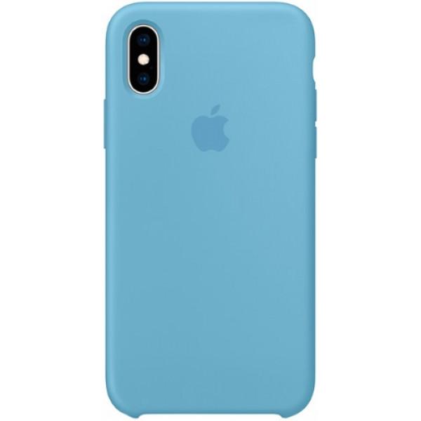 Чехол Apple Silicone Case для iPhone XS Cornflower силиконовый синий