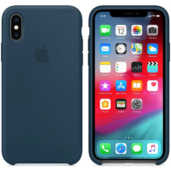 Чехол Apple Silicone Case для iPhone XS Max Pacific Green синий
