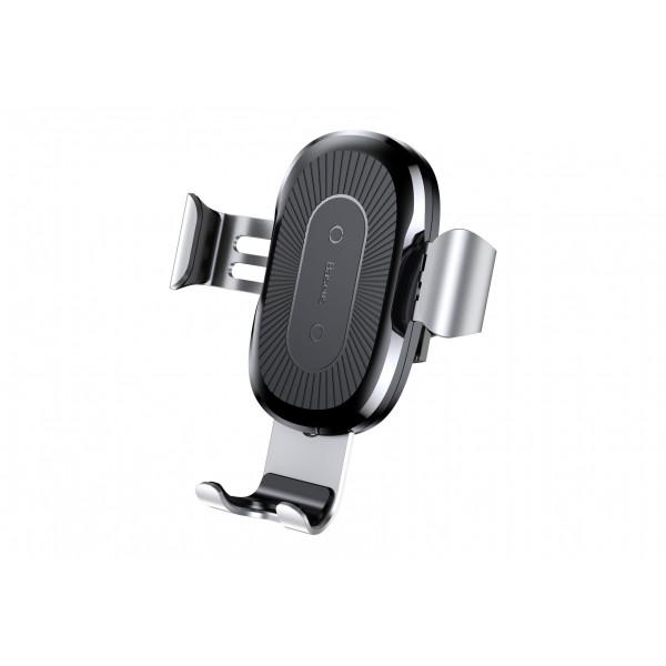 Автомобильный держатель Baseus Wireless Charger Gravity Car Mount Silver в дефлектор с беспроводной зарядкой