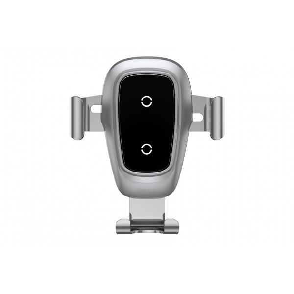 Беспроводная зарядка-автодержатель Baseus Metal Wireless Charger Gravity Car Mount Silver