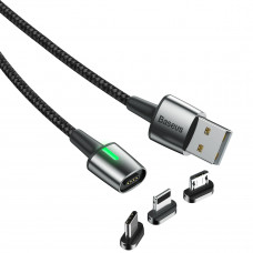 Кабель USB Baseus Zinc Magnetic Cable Kit универсальный Lightning+Micro+Type-C 1м